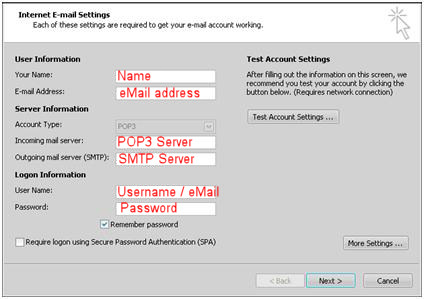 how to find smtp server name in outlook